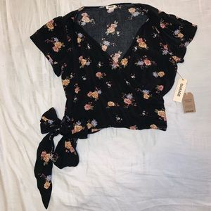 Floral wrap shirt